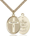 14kt Gold Filled Cross Army Pendant 0783-2