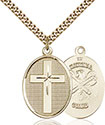14kt Gold Filled Cross National Guard Pendant 0783-5