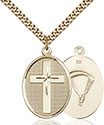 14kt Gold Filled Cross Paratrooper Pendant 0783-7