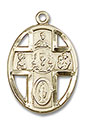 14kt Gold 5-Way Chalice Medal 0879