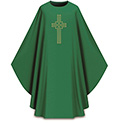 Chasuble Green Dupion Embroidered Cross 5059