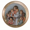 Relief Medallion Jesus with Children Fiberglass 100/61