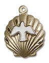 14kt Gold Shell Holy Spirit Medal 1259