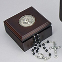 First Communion Brown Wood Rosary Box
