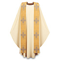 Chasuble Beige Dupion with Gold Missa Overlay Stole 3-2915