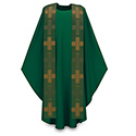 Chasuble Dark Green Dupion with Missa Overlay Stole 3-2915