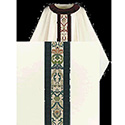 Chasuble Beige Dupion with Green Regina & Velvet Banding 3559
