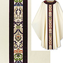 Chasuble Beige Dupion with Purple Regina & Velvet Banding 3560