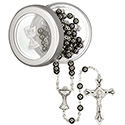 First Communion Hematite Rosary with Box 39 013 16