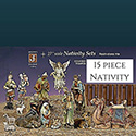"Nativity 15 Piece Set 27"" Traditional Colors Resin-stone"