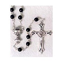 First Communion Black Glass Chalice Rosary 41 203 01