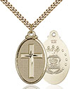14kt Gold Filled Cross Army Pendant 4145Y-1