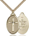 14kt Gold Filled Cross Army Pendant 4145Y-2