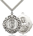 Sterling Silver O/L of Guadalupe Pendant 4227