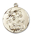 14kt Gold Holy Family Medal 4245