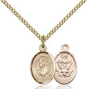 14kt Gold Filled St. Christopher Army Pendant 9022-2