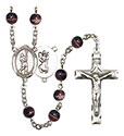 St. Christopher/Lacrosse 7mm Brown Rosary R6004S-8144