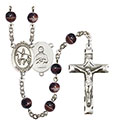 St. Kateri/Equestrian 7mm Brown Rosary R6004S-8182