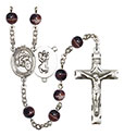 St. Christopher/Motorcycle 7mm Brown Rosary R6004S-8185