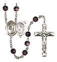 St. Sebastian/Archery 7mm Brown Rosary R6004S-8189