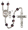 St. Christopher/Field Hockey 7mm Brown Rosary R6004S-8195