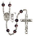 St. Christopher/Karate 7mm Brown Rosary R6004S-8515