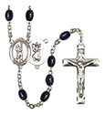 St. Christopher/Lacrosse 8x6mm Black Onyx Rosary R6006S-8144