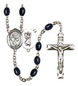 St. Christopher/Basketball 8x6mm Black Onyx Rosary R6006S-8502