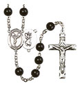 St. Christopher/Cheerleading 7mm Black Onyx Rosary R6007S-8140