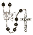 St. Christopher/Dance 7mm Black Onyx Rosary R6007S-8143