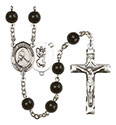 St. Christopher/Ice Hockey 7mm Black Onyx Rosary R6007S-8155