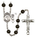 St. Christopher/Martial Arts 7mm Black Onyx Rosary R6007S-8158
