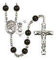 St. Christopher/Motorcycle 7mm Black Onyx Rosary R6007S-8185