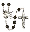 St. Christopher/Archery 7mm Black Onyx Rosary R6007S-8190