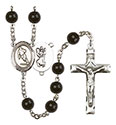 St. Christopher/Rugby 7mm Black Onyx Rosary R6007S-8194