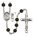 St. Christopher/Basketball 7mm Black Onyx Rosary R6007S-8502