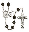 St. Christopher/Wrestling 7mm Black Onyx Rosary R6007S-8508