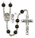 St. Christopher/Karate 7mm Black Onyx Rosary R6007S-8515