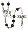 St. Christopher/Lacrosse 7mm Black Onyx Rosary R6007S-8516