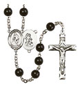 Guardian Angel/Wrestling 7mm Black Onyx Rosary R6007S-8708
