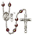 St. Christopher/Rodeo 7mm Garnet Aurora Borealis Rosary R6008GTS-8192