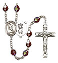 St. Christopher/Rugby 7mm Garnet Aurora Borealis Rosary R6008GTS-8194