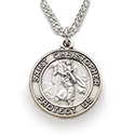 "St. Christopher Pendant 3/4"" Nickel Silver Medal & Chain SM3745"