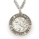 "St. Christopher Pendant 1"" Nickel Silver Medal & Chain SM3748"
