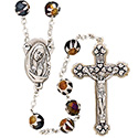 Rosary with Hand Painted Glass Black Beads SR3951