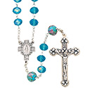 Rosary with Cut Glass Aqua Beads SR3952