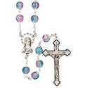 Rosary with Round Capped Pink & Blue Bead SR3953