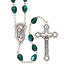 Rosary with Green Teardrop Beads SR3960