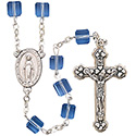 Rosary with Sapphire Square Tin Cut Crystal Beads SR3969