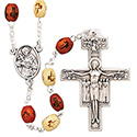 Rosary St. Francis of Assisi with Wood Beads SR3970